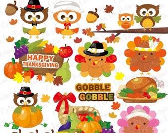 Gobble Thanksgiving Clipart, Turkey Clipart, Pumpkin clipart,Fall clipart,Harvest clipart,Cute Thanksgiving(CG084)/ INSTANT DOWNLOAD