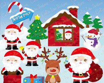 Santa Claus Clipart, Reindeer, Snowman , Christmas tree , North Pole (CG087)/ Christmas clipart, Christmas clip art,