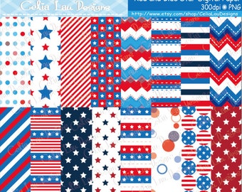 4th of July / Independence Day / Star Spangled , Nautical, Sailor, Red and Blue, USA American, background Digital Paper (CG232)