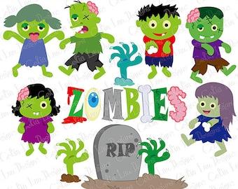 Zombie clipart, Zombie Party clipart , Zombie Party clip art, Fall clipart, zombie cake topper, Halloween clipart (CG177)