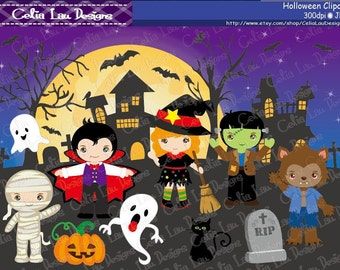 HALLOWEEN Digital Clipart, Halloween Clip art, Trick or Treat clipart and digital paper background (CG183)