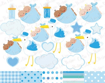 Twins Clipart , Twins Boy Baby Shower Digital clip art set, Baby Bearing Stork , Baby Delivery Stork (CG194)