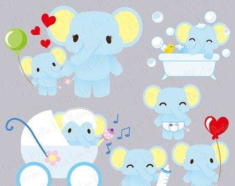 Baby Elephant Digital Clipart(A008)/Baby animals clip art/ Mom and Baby elephant clip art/ Babyshower invitation / INSTANT DOWNLOAD