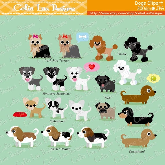 Dog Clipart Puppy Clipart Cute Dogs Clip Art Puppy Etsy