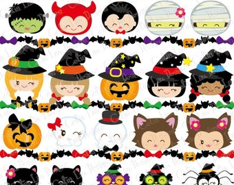 HALLOWEEN Clipart, Happy Halloween Smiley Face Digital Clipart, KAWAII Halloween Kid clip art/ Halloween border/ Instant Download (CG081)
