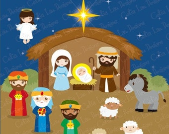 NATIVITY ,  Birth of Jesus Clipart , Christmas Clipart