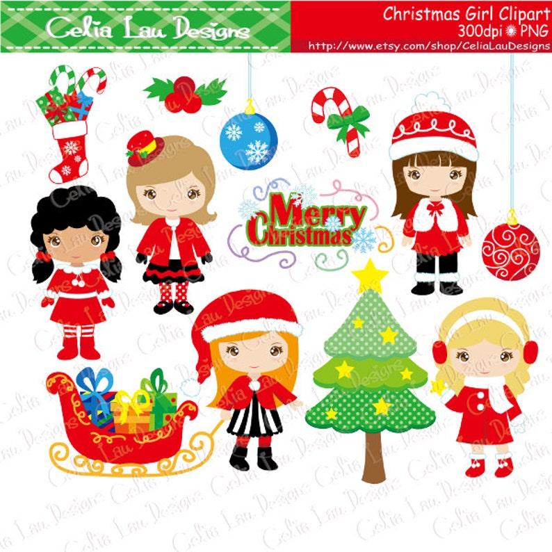 Frohe Weihnachten Clipart.Weihnachten Mädchen Clipart Frohe Weihnachten Digital Clipart Cg203