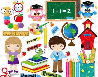 Back to school clip art, Back to school Clipart and paper set (CG059) School supplies  / Digital Clipart school day / INSTANT DOWNLOAD