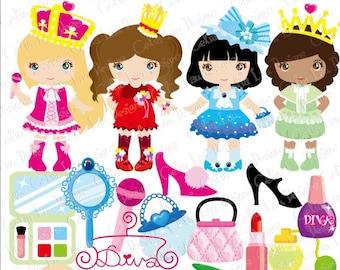 Diva Princess Party Digital Clipart / Little Girls Diva Party Cute girl Dress Up Party Clip art (CG072)