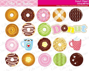 Donuts Clip Art, Doughnut Coffee Cute Clip Art / Sweets clipart /Cupcake Toppers Clipart  (CG161)