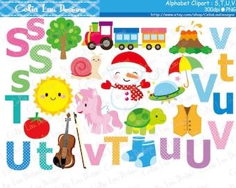 Alphabet clipart : S,T,U,V / Back to School clip art / INSTANT DOWNLOAD (CG173)