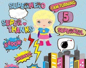 Supergirl clipart  text, Super Hero Pop art Text Clipart 3 (S017)/ comic book style super hero clip art /Super Hero bubble