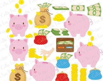 Savings Digital Clip Art , Pig Clipart(CG201)