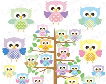 Owl Clipart, Owls Digital Clip art/Polka dot/Star/Chevron stripes/Diagonal Striped/Owl Friends,  Baby PASTELS / INSTANT DOWNLOAD(A002)