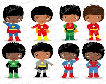 Superheroes, Boys Superhero clip art, SuperBoy clipart, Photo booth props, African american, Indian, Superhero School Decorations (S024)