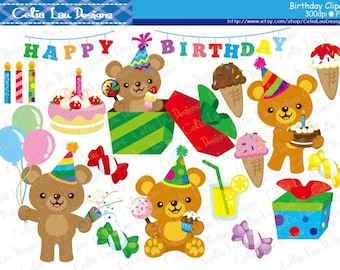 Bear Birthday Digital Clipart set/ INSTANT DOWNLOAD (CG113)