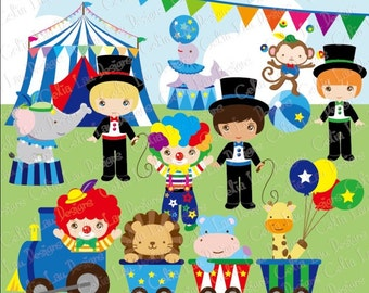 Baby Boy Circus clipart, Boys circus party clip art, Blue Circus Clipart ,baby boy babyshower clipart, (CG069 ) / INSTANT DOWNLOAD