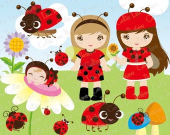 Ladybug clipart, Ladybug birthday, Ladybug baby shower, Ladybug party / cute girl and baby clip art / sunflower (CG054) /INSTANT DOWNLOAD