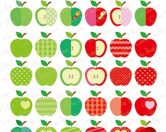 Apple Clip Art, Apples Clipart / Apple clipart / Personal & commercial use / INSTANT DOWNLOAD (CG157)