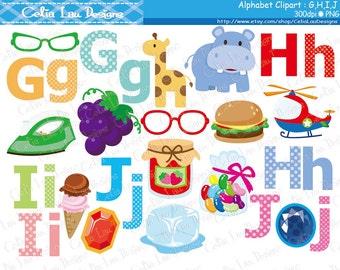 Alphabet clipart : G,H,I,J / Back to School clip art / INSTANT DOWNLOAD (CG170)