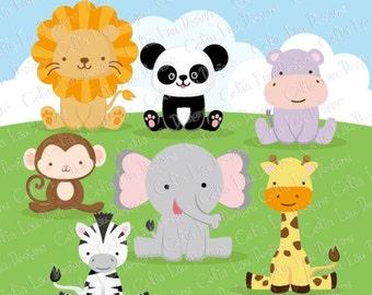 Zoo Animals Digital Clip art , Baby Animals Clipart, Cute Animals clipart and digital paper background set ( A026)