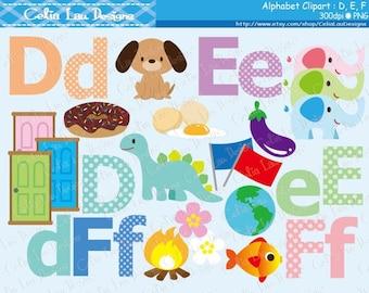 Alphabet clipart : D , E , F / Back to School clip art / INSTANT DOWNLOAD (CG169)