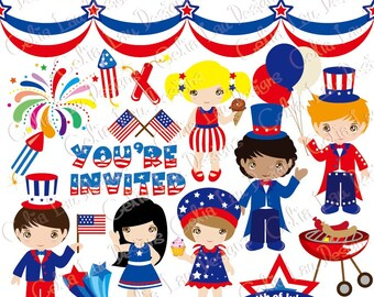 4th of july Clipart/ American clipart / Independence day clip art and paper set (CG027) /For Personal and Commercial Use/ INSTANT DOWNLOAD