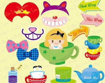 Alice Tea Party Digital Clipart Photo Booth Prop(CG080)/ Digital Clip art / INSTANT DOWNLOAD