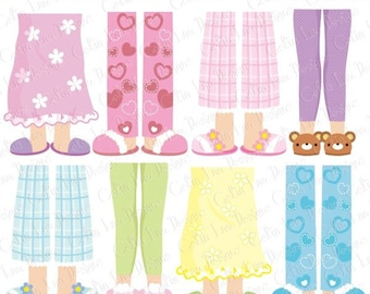 Pajama Party Clipart, Girls Pajama Feet clipart (CG154)