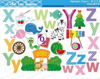 Alphabet clipart : W,X,Y,Z / Back to School clip art / INSTANT DOWNLOAD (CG174)