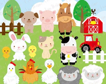 Farm animals Clipart, cute farm animals clip art ,farm clipart , farm party , barnyard animals (A033)