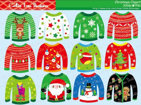Christmas Sweater Clipart.Ugly Christmas Sweaters Clipart For Personal And Commercial Use