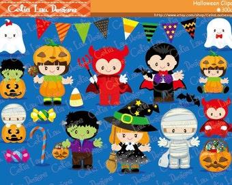 HALLOWEEN Clipart, Cute Halloween Baby Digital Clipart, Kawaii Halloween(CG079)