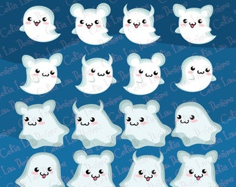 Halloween Clipart, Cute Ghost Clipart, Cute Halloween Clipart,Ghost Graphics, Spooky Clipart, Kawaii Ghost (CG075) Instant Download