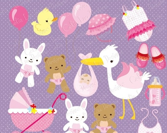 Baby Girl Clipart , Girl Baby Shower Digital clip art set, Baby girl nursery / INSTANT DOWNLOAD  (CG045)