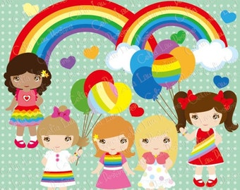 Rainbow Girl Clipart/ Cute girl and Rainbow clipart / Balloon clip art set (CG049) /For Personal and Commercial Use/ INSTANT DOWNLOAD