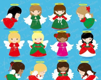 Christmas Angels Digital Clipart, Angel Clipart, Angel Clip Art, Christmas Clipart, Holiday Clip Art