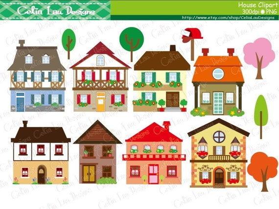 house clipart houses clip art buildings homes cute houses etsy rh etsy com houses clipart free houses clipart free