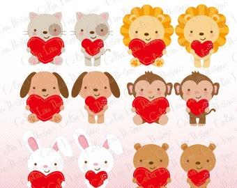 Love Animals Clipart, Love Clipart , Valentine Animals , cat, dog, lion, bear, monkey, bunny clipart (A029)