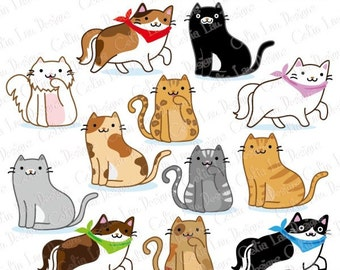 Cat Clipart, Kitten Clipart , cute cats clip art, kitty clipart, (A019) /For Personal and Commercial Use/ INSTANT DOWNLOAD