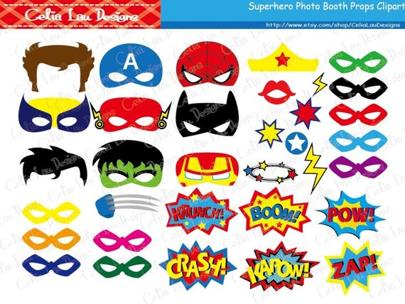 Superhero Photo Booth Props / DIY Printable Superhero Masks /