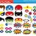 Superhero Photo Booth Props / DIY Printable Superhero Masks / Superhero Party Favors