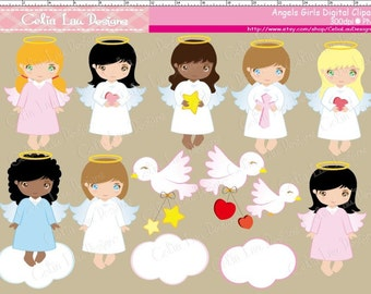 Cute Angel Baptism Clipart,  Cute Angels Girls,  Baptism clipart,  Baby Angels,  Girl angel clip art/ INSTANT DOWNLOAD (CG005)