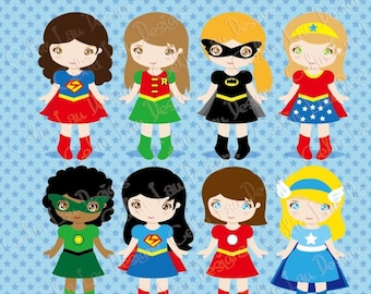 SuperGirls Clipart, Cute Girl Superhero clip art , Superheroes clipart / INSTANT DOWNLOAD (S014)