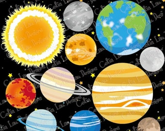 Planets digital clipart, Solar System, Outer Space Clipart