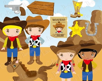 Cowboy Clip art / Cute Cowboys Clipart and Digital paper Background set(CG023) /INSTANT DOWNLOAD