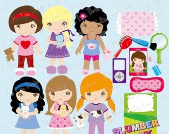 Pajama Party Clipart, Slumber Party clipart, Cute Girl Night Sleepover Clip art / Girls Pajamas Birthday invitation (CG029)