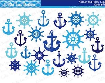 Anchor Clipart, Helm Clipart, Nautical Clip Art, Sailing, Ocean ,Sailor, Photoshop Brushes/ Instant Download (CG134)