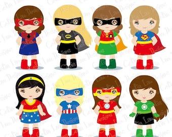 Superhero Clipart, Supergirl Clipart (S019) ,Girl Superheroes clip art
