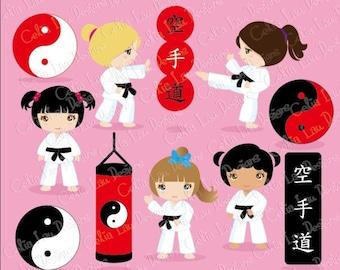 Karate Clipart - Karate Kids Clipart/ Karate girl clip art / Sport kid clip art/ (CG141)/ INSTANT DOWNLOAD